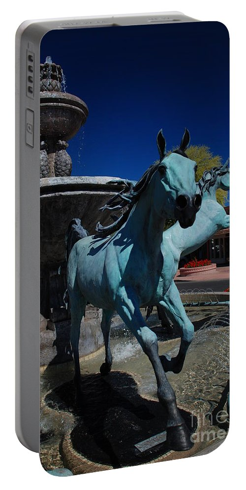 Arabian Horse Fountain Scottsdale Arizona Sculpture Portable Battery Charger featuring the photograph Arabian Horse Sculpture by Richard Gibb