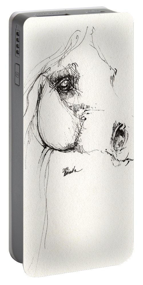 Horse Portable Battery Charger featuring the drawing Arabian Horse Sketch 2014 05 24 by Angel Ciesniarska