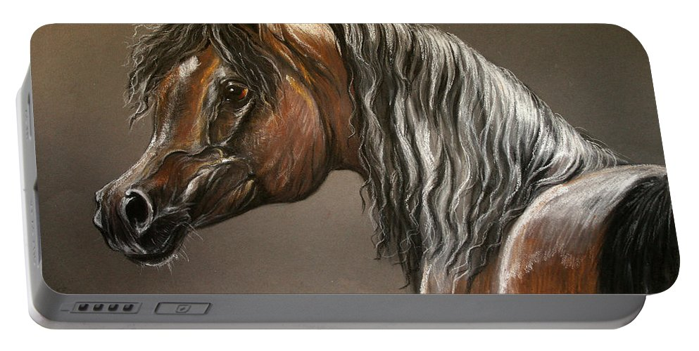 Arabian Horse Portable Battery Charger featuring the drawing Arabian Mare by Angel Ciesniarska