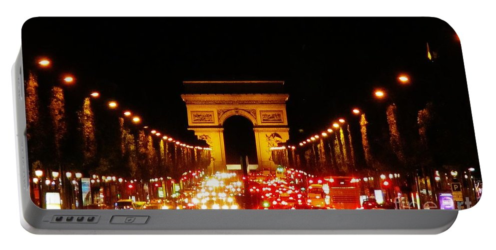 Arc De Triomphe At Night Portable Battery Charger featuring the photograph Arc De Triomphe At Night by John Malone