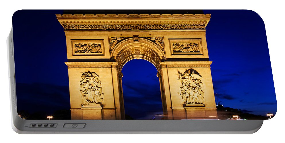 Paris Portable Battery Charger featuring the photograph Arc De Triomphe At Night Paris France by Michal Bednarek