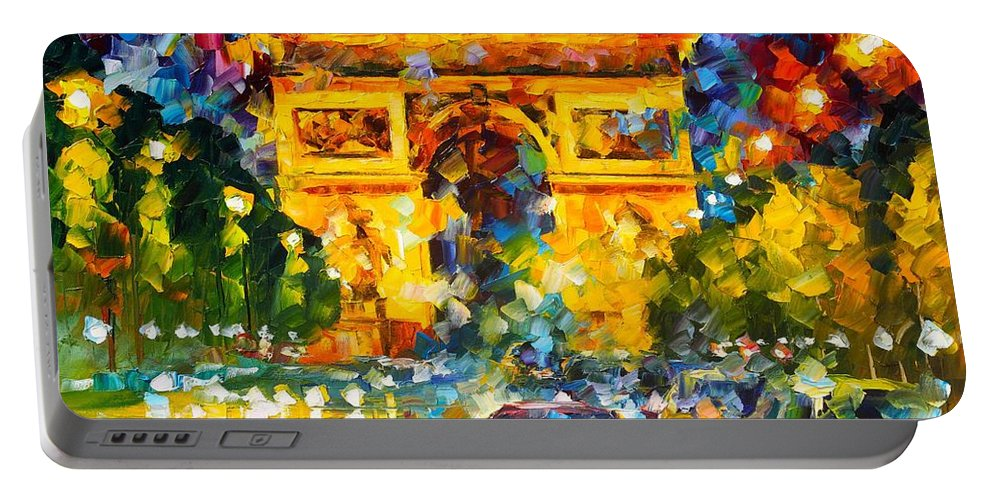 Afremov Painting Palette Knife Art Handmade Surreal Abstract Oil Landscape Original Realism Unique Special Life Color Beauty Admiring Light Reflection Piece Renown Authenticity Smooth Certificate Colorful Beauty Perspective Stroll Palm Sailing Dream Arc Triomphe Portable Battery Charger featuring the painting Arc De Triomphe by Leonid Afremov