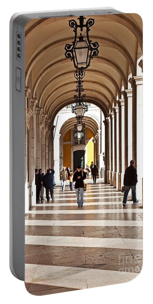 Lisbon Portable Battery Charger featuring the photograph Arcades Of Lisbon by Jose Elias - Sofia Pereira