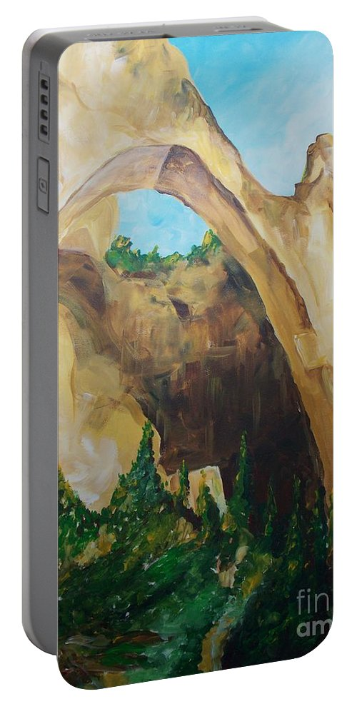 Floral Portable Battery Charger featuring the painting Arch by Eric Schiabor