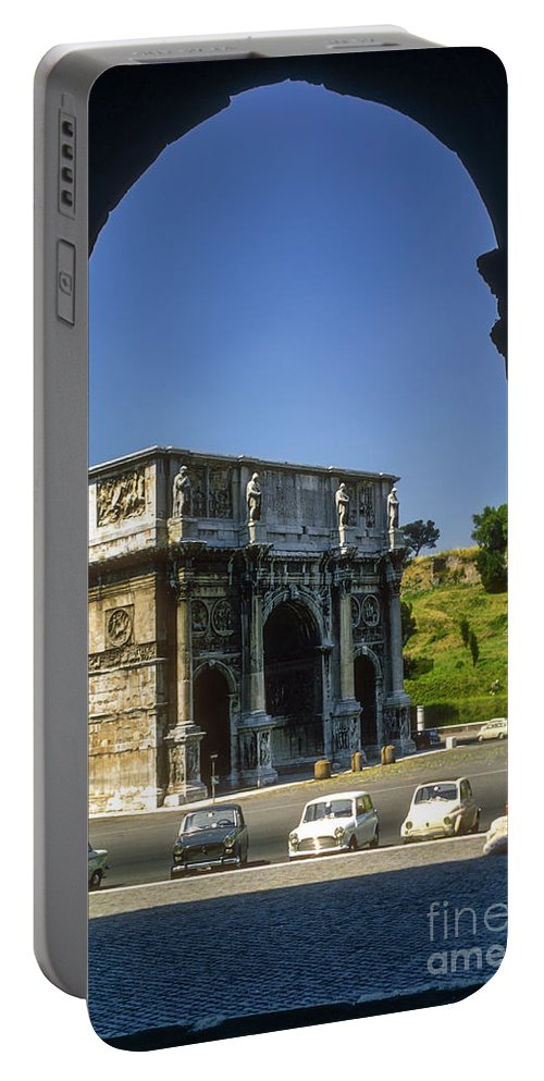 Arch Of Constantine Rome Arches Car Cars Automobile Automobiles Structure Structures Architecture City Cities Cityscape Cityscapes Italy Portable Battery Charger featuring the photograph Arch Of Constantine by Bob Phillips