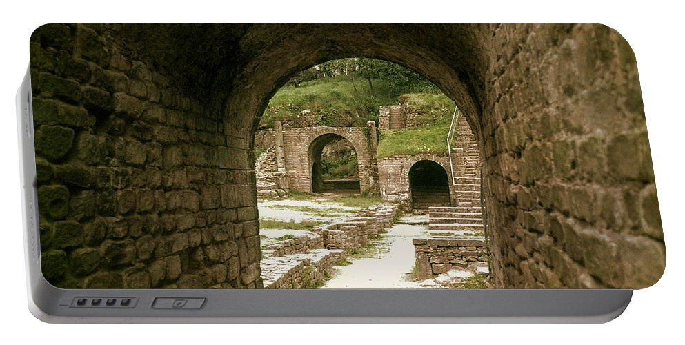 Fiesole Theatre Ruins Ruin Structure Structures Architecture Stairs Architecture Stone Arch Stones Arches Italy Portable Battery Charger featuring the photograph Arched Entrance To Fiesole Theatre by Bob Phillips
