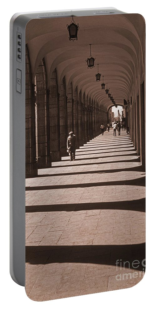 Arequipa Portable Battery Charger featuring the photograph Arched Walk Way    by J L Woody Wooden