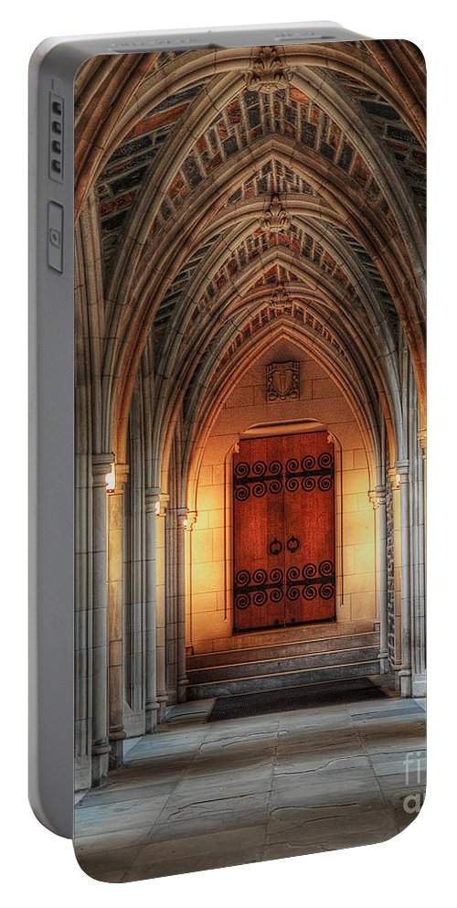 Duke University Portable Battery Charger featuring the photograph Arches At Duke Chapel by Emily Kay