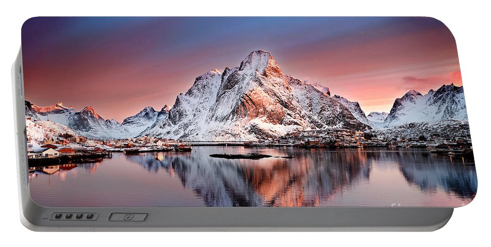 2012 Portable Battery Charger featuring the photograph Arctic Dawn Over Reine Village by Janet Burdon