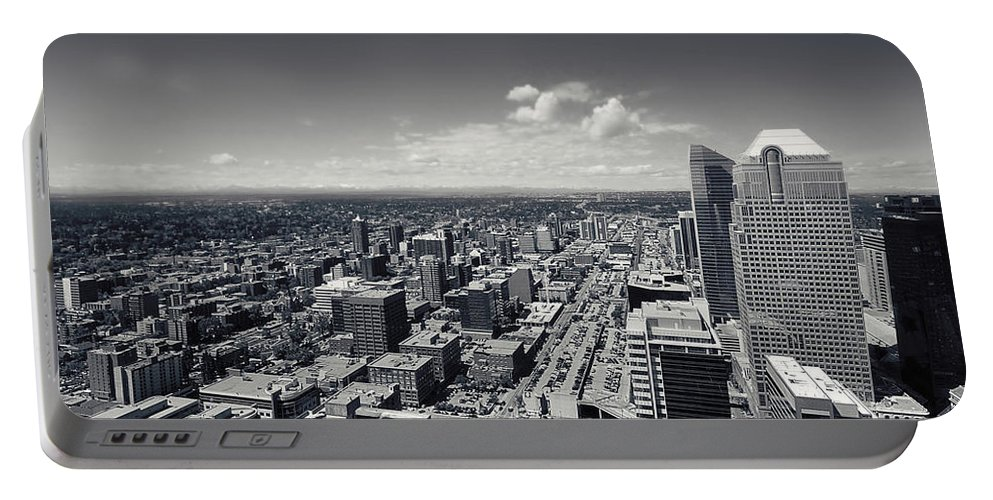 Lisa Knechtel Portable Battery Charger featuring the photograph Arial View Of Calgary Facing West by Lisa Knechtel