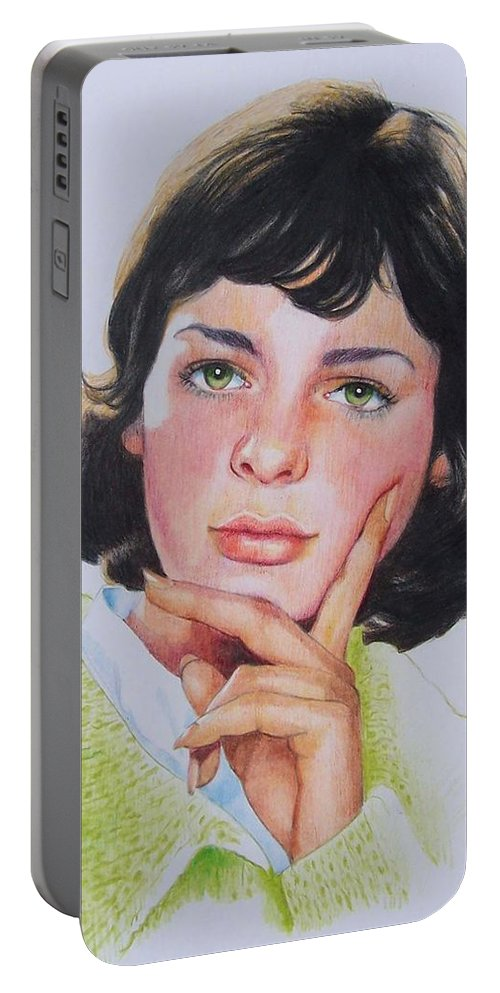 Portrait Portable Battery Charger featuring the mixed media Ariane by Constance Drescher