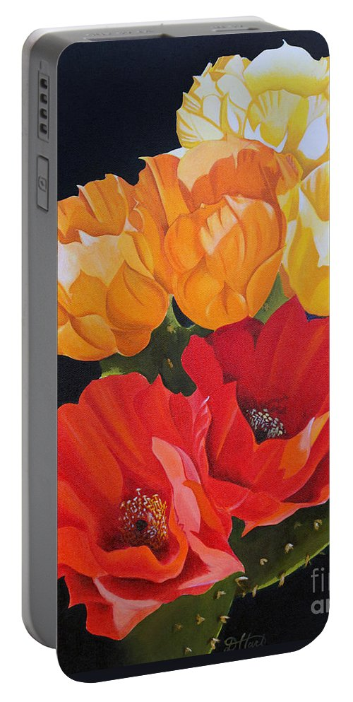 Still Life Portable Battery Charger featuring the painting Arizona Blossoms - Prickly Pear by Debbie Hart