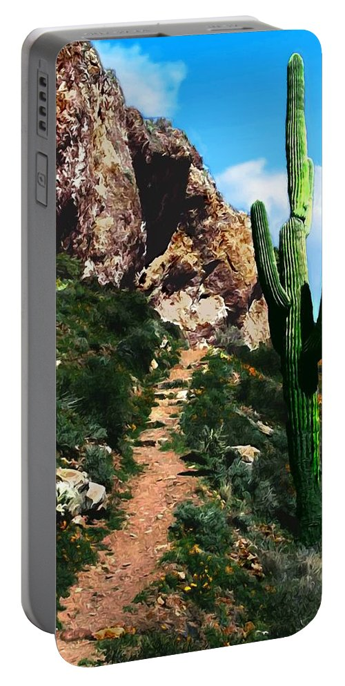Acrylic Portable Battery Charger featuring the photograph Arizona Saguaro Tonto National Monument by Bob and Nadine Johnston