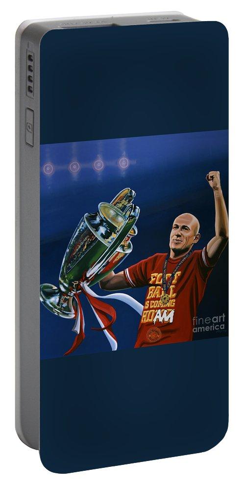Arjen Robben Portable Battery Charger featuring the painting Arjen Robben by Paul Meijering