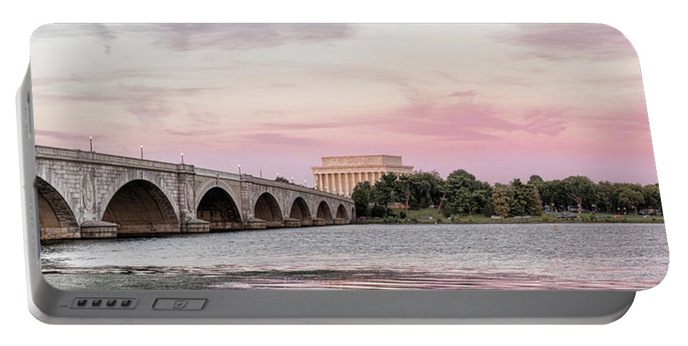 Photography Portable Battery Charger featuring the photograph Arlington Memorial Bridge With Lincoln by Panoramic Images