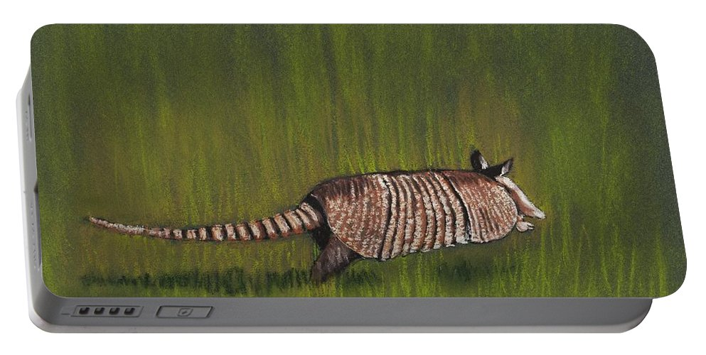 Shell Portable Battery Charger featuring the painting Armadillo Run by Anastasiya Malakhova