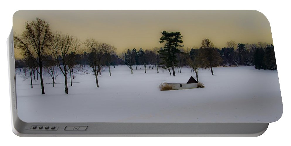 Aronimink Portable Battery Charger featuring the photograph Aronimink Golf Club In The Snow by Bill Cannon