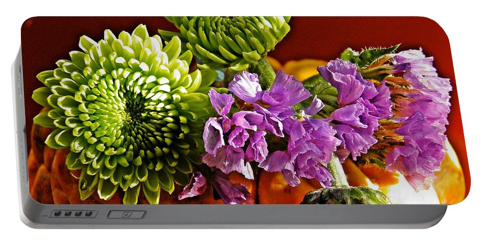 Vegetable Portable Battery Charger featuring the photograph Arrangement On Squash by Sarah Loft