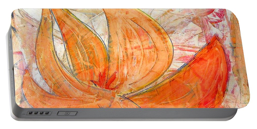 Abstract Portable Battery Charger featuring the painting Arrows by Marcello Cicchini