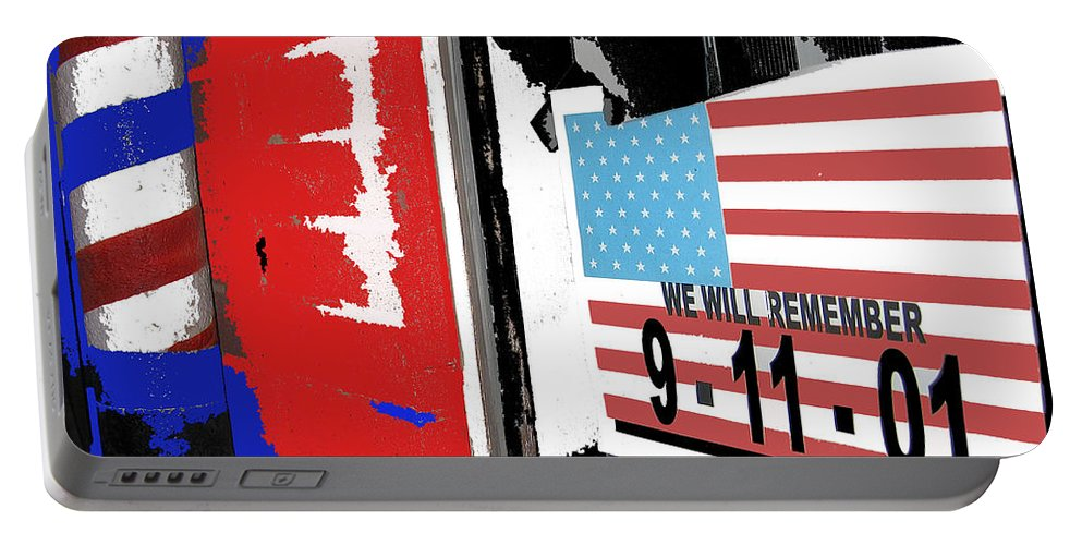 Art Homage Jasper Johns American Flag 9-11-01 Memorial Collage Barber Shop Eloy Az 2004 Color Added Portable Battery Charger featuring the photograph Art Homage Jasper Johns American Flag 9-11-01 Memorial Collage Barber Shop Eloy Az 2004-2012 by David Lee Guss