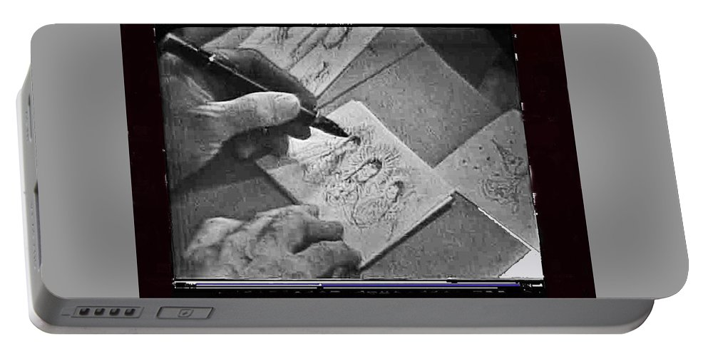 Art Homage Ted Degrazia Pen Ink Drawing On Camera Kvoa Tv Studio January 1966 Portable Battery Charger featuring the photograph Art Homage Ted Degrazia Pen Ink Drawing On Camera Kvoa Tv Studio January 1966 by David Lee Guss