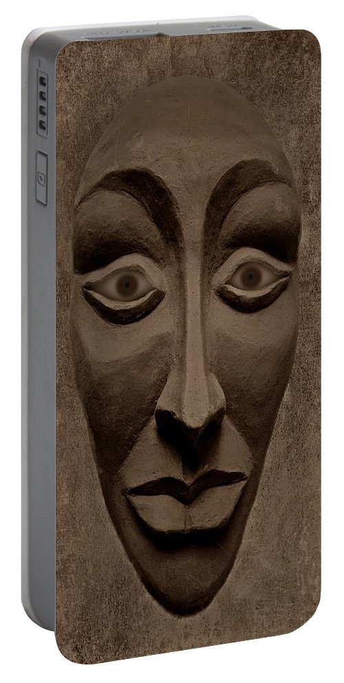 Mask Portable Battery Charger featuring the photograph Artificial Intelligence Entity Sepia by David Dehner