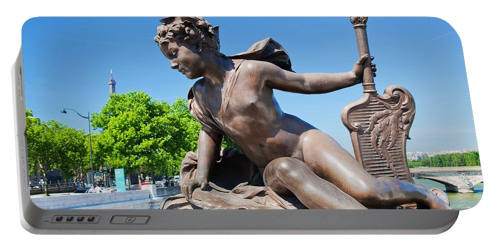 Statue Portable Battery Charger featuring the photograph Artistic Statue On Alexandre Bridge Against Eiffel Tower by Michal Bednarek