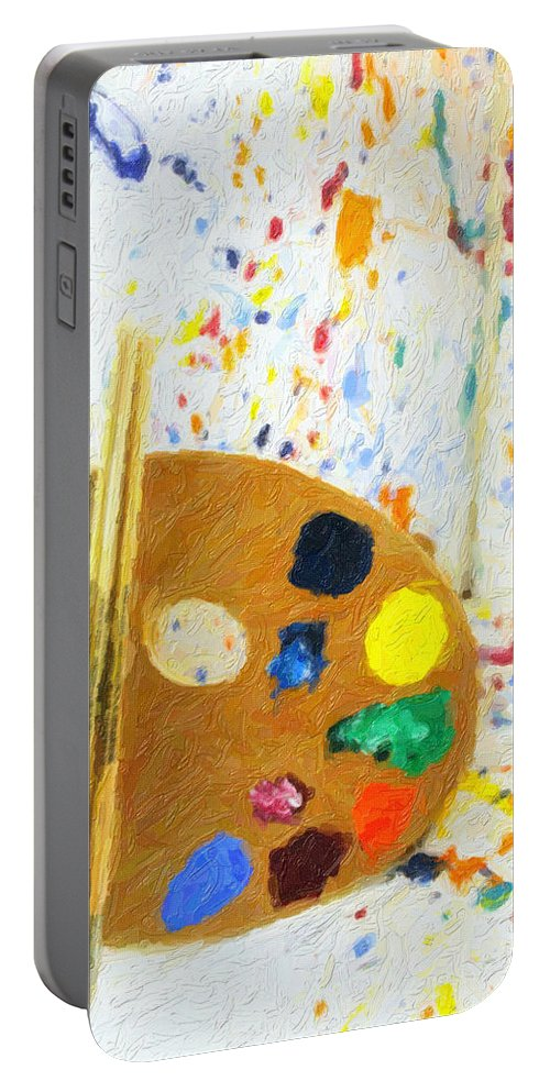 Easel Portable Battery Charger featuring the digital art Artists Easel And Splatter by Gravityx9 Designs