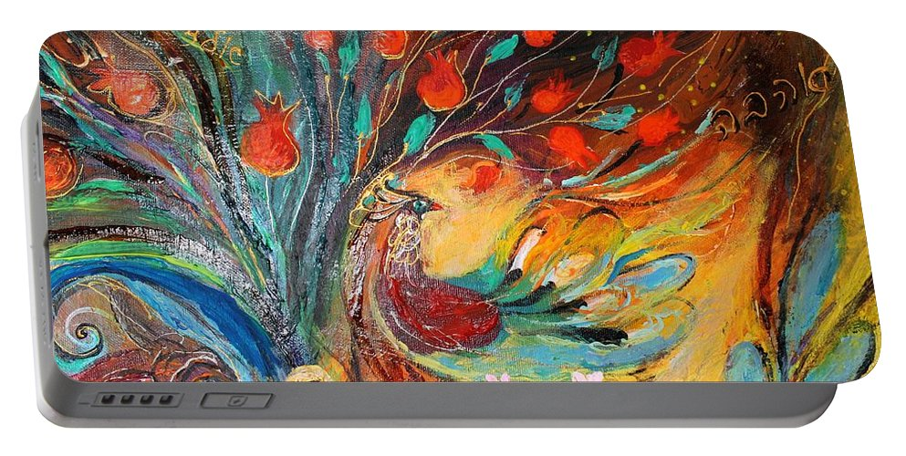 Jewish Art Prints Portable Battery Charger featuring the painting Artwork Fragment 05 by Elena Kotliarker