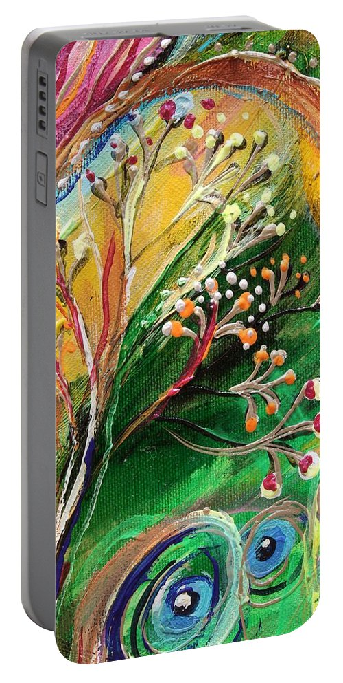 Jewish Art Prints Portable Battery Charger featuring the painting Artwork Fragment 48 by Elena Kotliarker