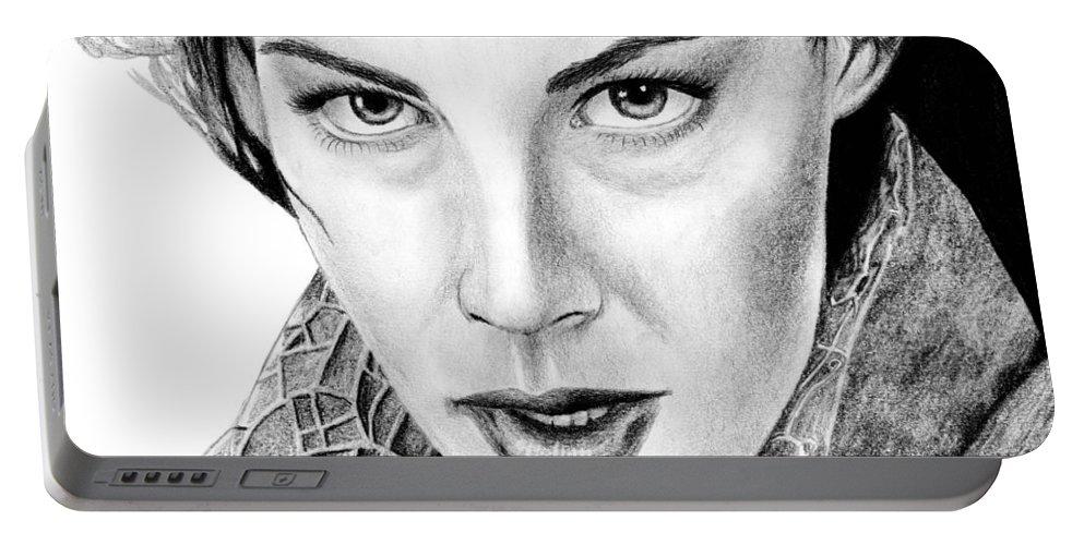 Arwen Portable Battery Charger featuring the drawing Arwen Undomiel by Kayleigh Semeniuk