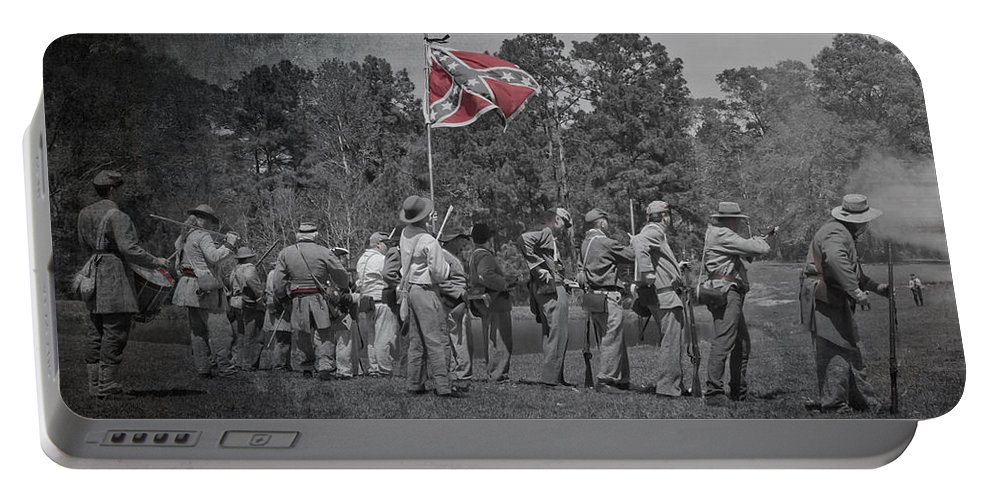 Reenactments Portable Battery Charger featuring the photograph As The Flag Waves by Kim Henderson