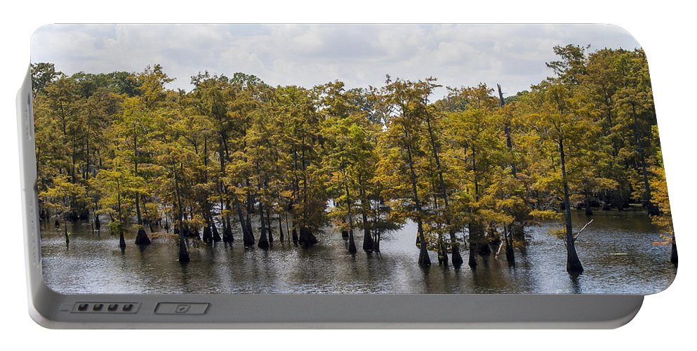 Black Bayou Lake National Wildlife Refuge Monroe Louisiana Park Parks Cypress Trees Tree Trunks Trunk Landscape Landscapes Waterscape Waterscapes Reflection Reflections Louisiana Portable Battery Charger featuring the photograph As The Seasons Change by Bob Phillips