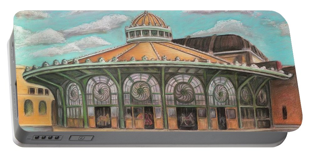 Carousel House Portable Battery Charger featuring the painting Asbury Park Carousel House by Melinda Saminski