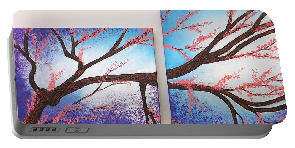 Portable Battery Charger featuring the painting Asian Bloom Triptych 1 2 by Darren Robinson