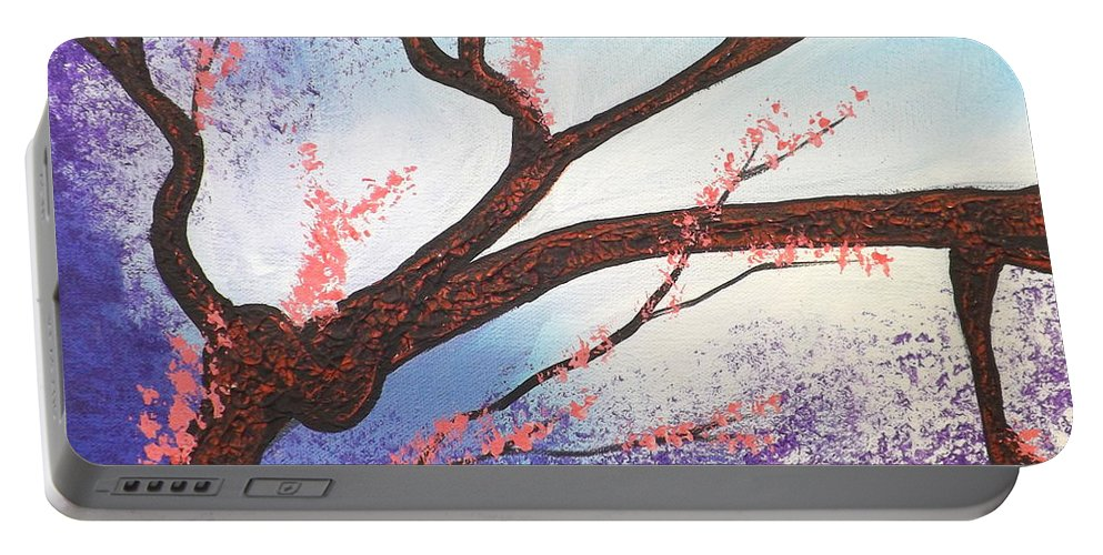 Asian Bloom Portable Battery Charger featuring the painting Asian Bloom Triptych 1 by Darren Robinson