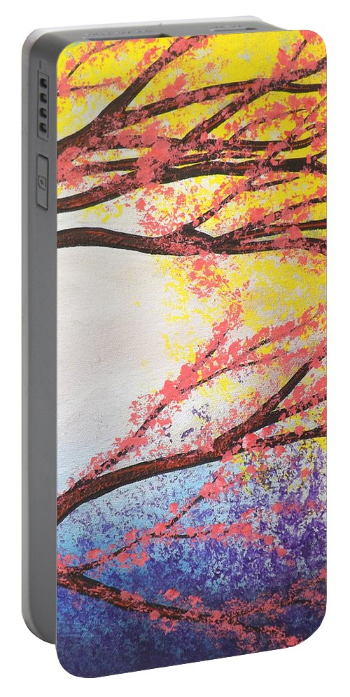 Asian Bloom Triptych Portable Battery Charger featuring the painting Asian Bloom Triptych 3 by Darren Robinson
