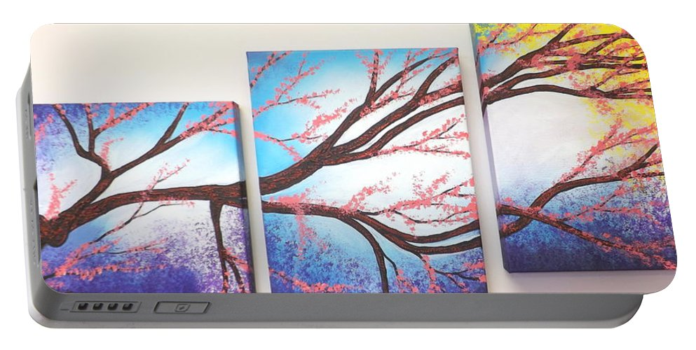 Asian Bloom Triptych Portable Battery Charger featuring the painting Asian Bloom Triptych by Darren Robinson
