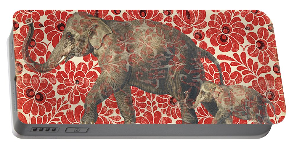 Asian Portable Battery Charger featuring the digital art Asian Elephant-jp2185 by Jean Plout