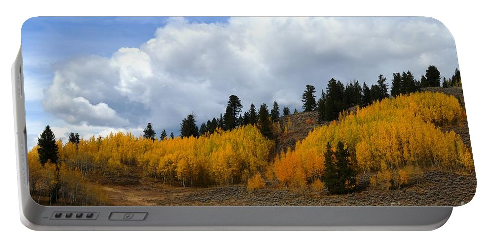Fall Portable Battery Charger featuring the photograph Aspen Hillside by Deanna Cagle