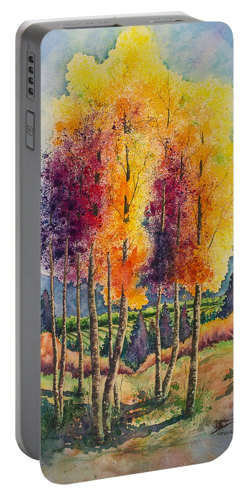 Aspen Portable Battery Charger featuring the painting Aspen Overlook by Michael Bulloch