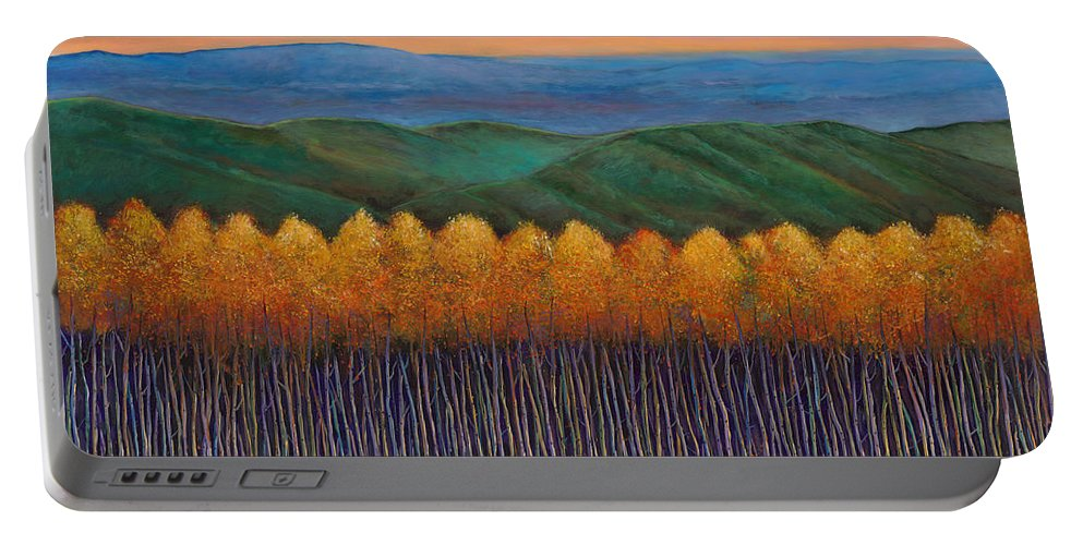 Autumn Aspen Portable Battery Charger featuring the painting Aspen Perspective by Johnathan Harris