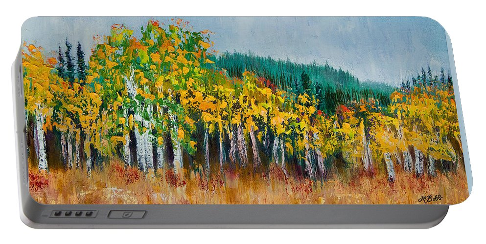 Aspens Portable Battery Charger featuring the painting Lothlorien by Margaret Bobb