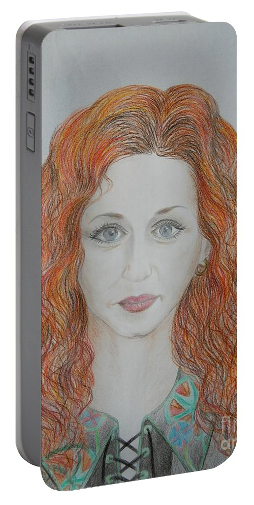 Portrait Portable Battery Charger featuring the drawing Asta by Loreta Mickiene