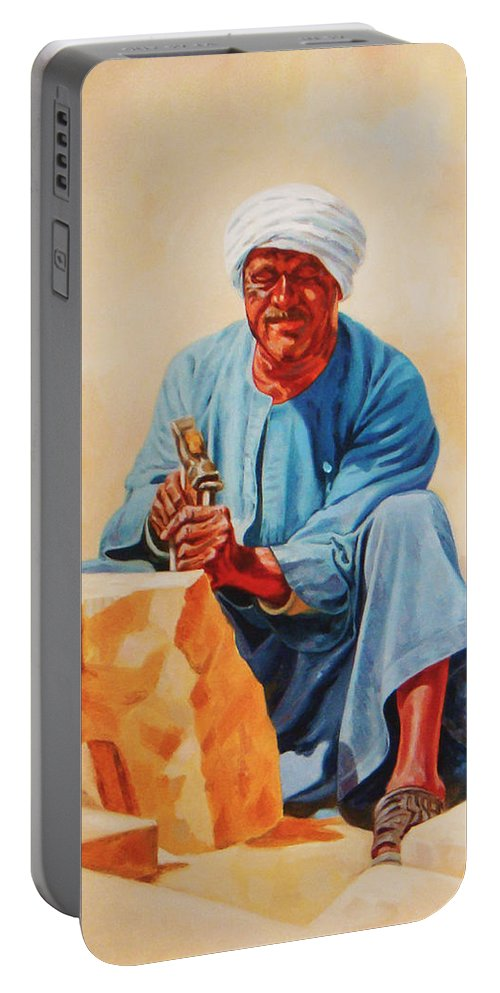Impressionism Portable Battery Charger featuring the painting Aswan Sculptor by Ahmed Bayomi
