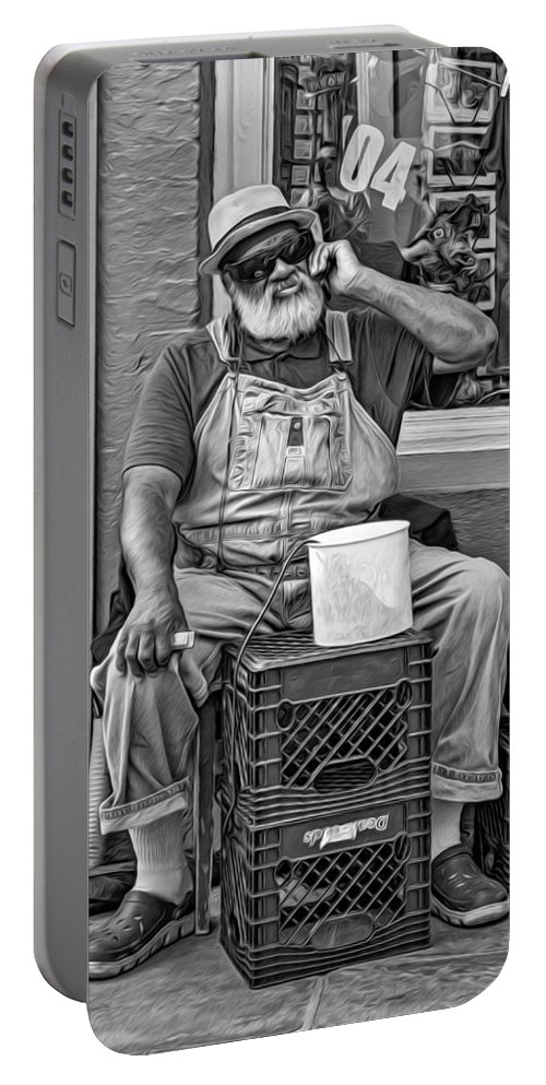 French Quarter Portable Battery Charger featuring the photograph At His Office - Grandpa Elliott Small Bw by Steve Harrington