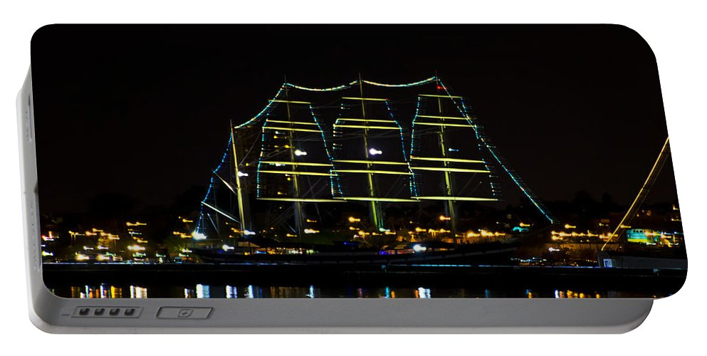 At Portable Battery Charger featuring the photograph At Night On The Delaware River - The Mushulu by Bill Cannon