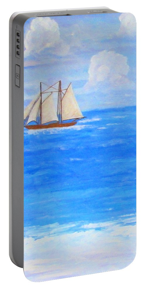 Art Portable Battery Charger featuring the painting At Sea by Ashley Goforth