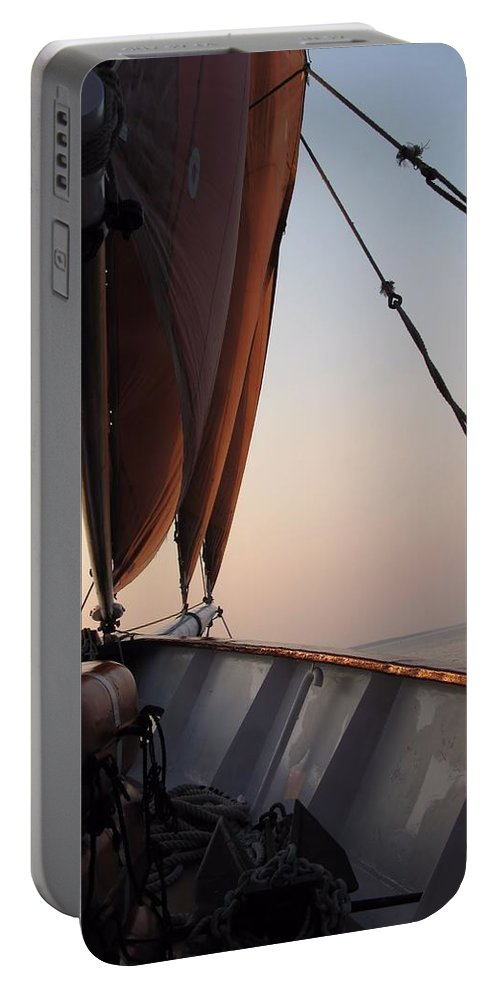 Sails Portable Battery Charger featuring the photograph At The Bow by Robert McCulloch