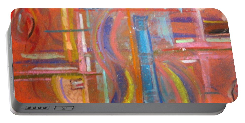 Matrix Portable Battery Charger featuring the pastel At The Crossroads by Dawn Richerson